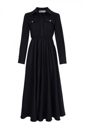BERRENstudio - Cep Detaylı Elbise Siyah