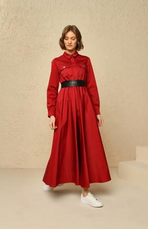 BERRENstudio - Cep Detaylı Kırmızı Elbise