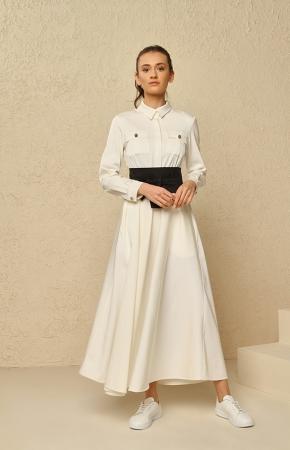 BERRENstudio - Cep Detaylı Maxi Beyaz Elbise