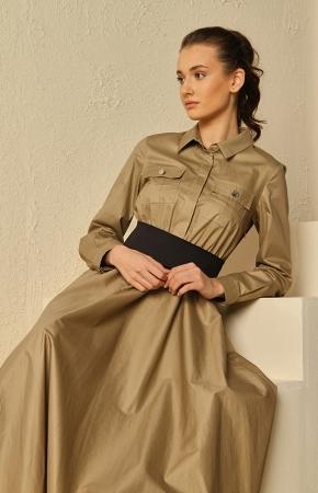 BERRENstudio - Cep Detaylı Maxi Kahverengi Elbise