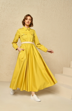 BERRENstudio - Cep Detaylı Sarı Elbise