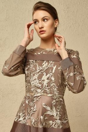 Desenli Kahverengi Elbise - Thumbnail