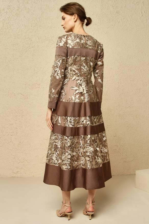 Desenli Kahverengi Elbise