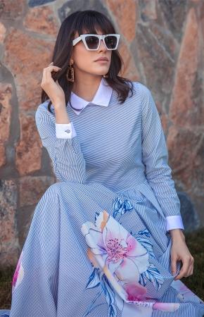 BERRENstudio - BERRENstudio Kadın Çizgili Çiçekli Elbise