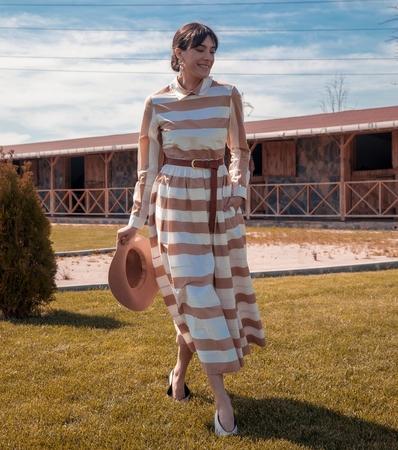 BERRENstudio - BERRENstudio Kadın Çizgili Elbise