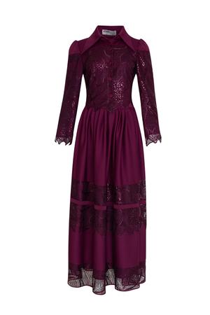 BERRENstudio - BERRENstudio Kadın Dantel Detaylı Pullu Düğmeli Elbise