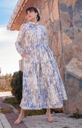 BERRENstudio - BERRENstudio Kadın Desenli Mavi Bej Elbise