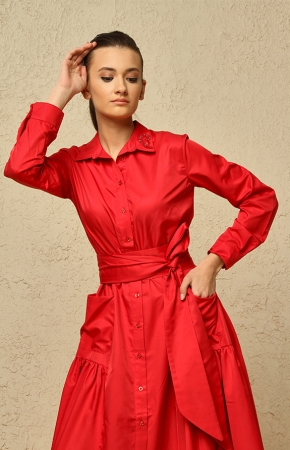 BERRENstudio - BERRENstudio Kadın Çift Cep Kemerli Düğmeli Uzun Elbise