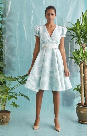 BERRENstudio - BERRENstudio Kadın Kısa Balon Kol Broker Elbise