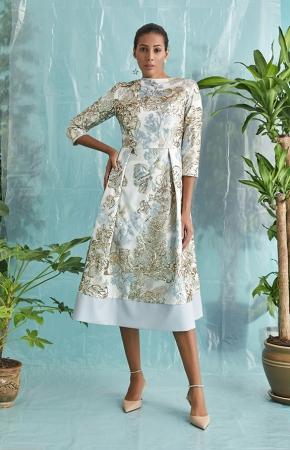BERRENstudio - BERRENstudio Kadın Mavi Gold Payetli Elbise