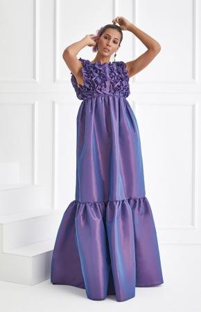 BERRENstudio - BERRENstudio Kolsuz Üstü Volanlı Maxi Elbise