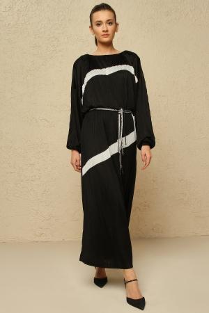 BERRENstudio - Uzun Kollu Pliseli Elbise