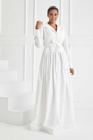 BERRENstudio - Beyaz Dantel Detaylı Elbise