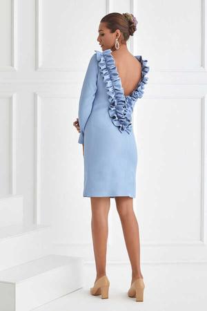 BERRENstudio - Mavi Sırtı Dekolteli Volan Ayrıntılı Elbise