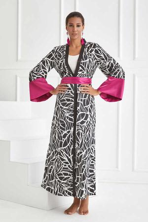 BERRENstudio - Çizgi Baskılı Geniş Kol Kimono
