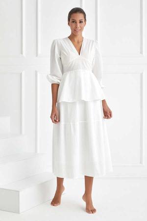 BERRENstudio - Çizgili Desen Beyaz Etek Bluz Takım