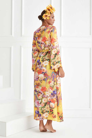 BERRENstudio - Minik Çiçek Desenli Saten Kimono
