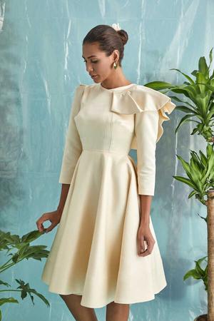BERRENstudio - Vanilya Renk Yaka Detaylı Elbise