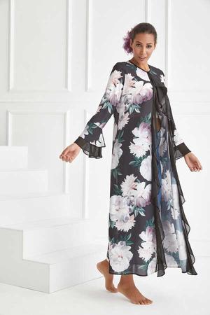 BERRENstudio - Volan Detaylı Çiçek Baskılı Şifon Kimono
