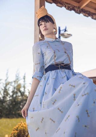 BERRENstudio - Yusufçuk Desenli Mavi Elbise