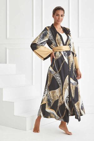 BERRENstudio - Zebra Leopar Zincir Desen Kimono